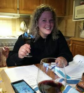 Efter provet firade vi med lite vin..